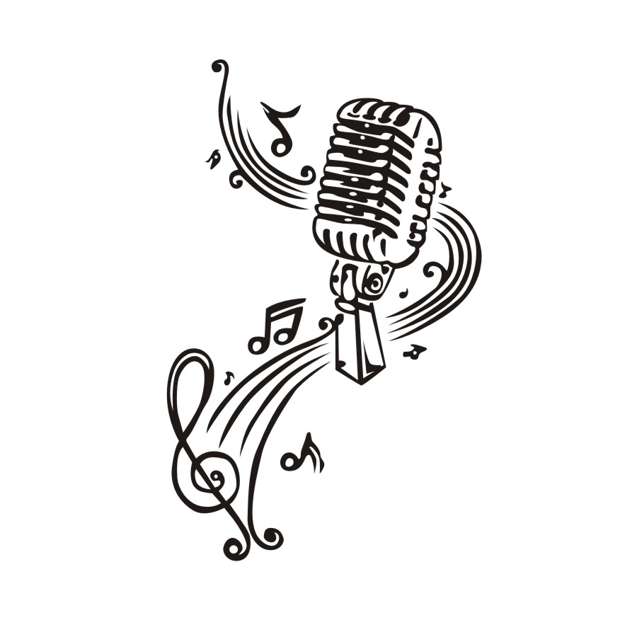Microphone And Music Notes Wall Stickers Art Murals Wall Decals For