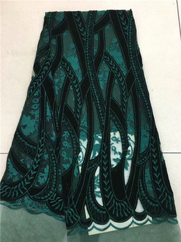 Teal Gold very soft 5 yards African tulle lace fabric with big laser  Guipure lace borders high quality Velvet hot sale green