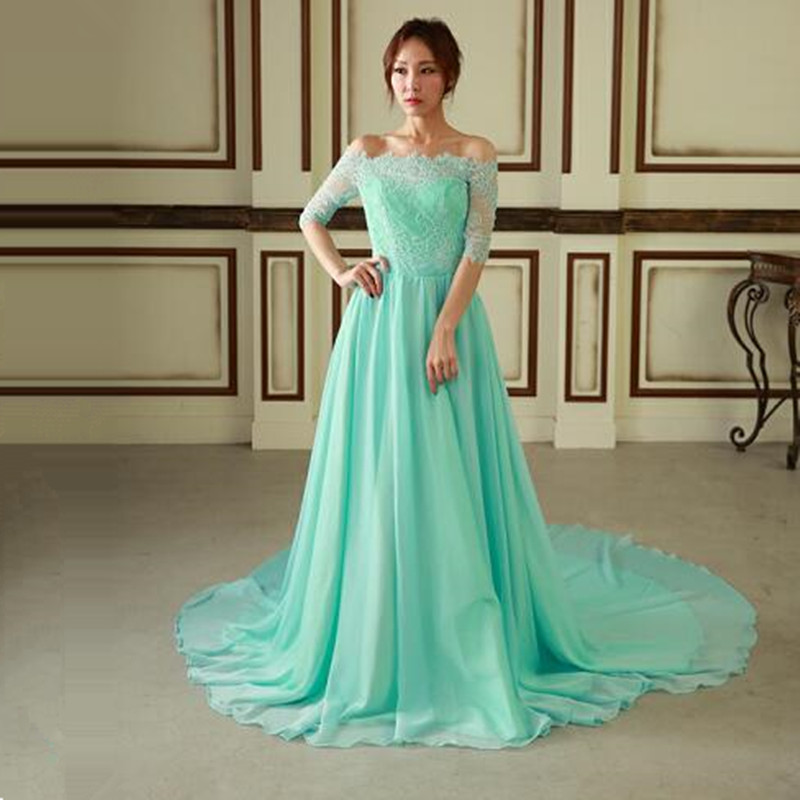 Vinca Sunny 2018 Mint Green Prom Dresses Long Chiffon Half Sleeve