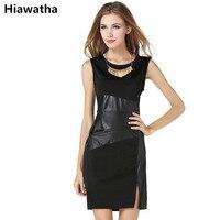 Hiawatha New Arrival Women Elegant Sleeveless Dress Fashion PU Patchwork Dresses Summer Slim Knee Length Vestidos