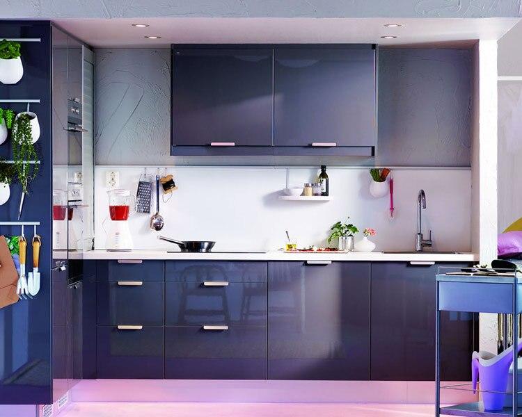 A Modern Warna Ungu Mdf Gloss Tinggi Lacquer Kabinet Dapur Di Lemari Dari Perbaikan Rumah Aliexpress Alibaba Group