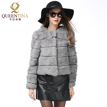 2018 Winter Real Rabbit Fur Jacket Women Design Rabbit Fur Coat Full Pelt Natural Fur Coat O-Neck Wholeskin Genuine Fur Coat