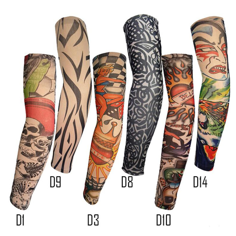 Summer Outdoor Cycling Bicycle Unisex Ice Sleeve UV Protection Code High Elastic Breathable Tattoo Print Arm Sleeve