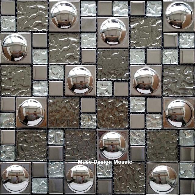 European Silver Foil Wave Crystal Gl Mosaic Tile Kitchen Backsplash Bathroom Shower Waistline Fireplace