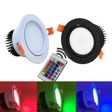 GD 4pcs 3W 6W 9W RGB LED Recessed Downlight COB 220V Ceiling Lighting Color Changeable Spot With Remote Control