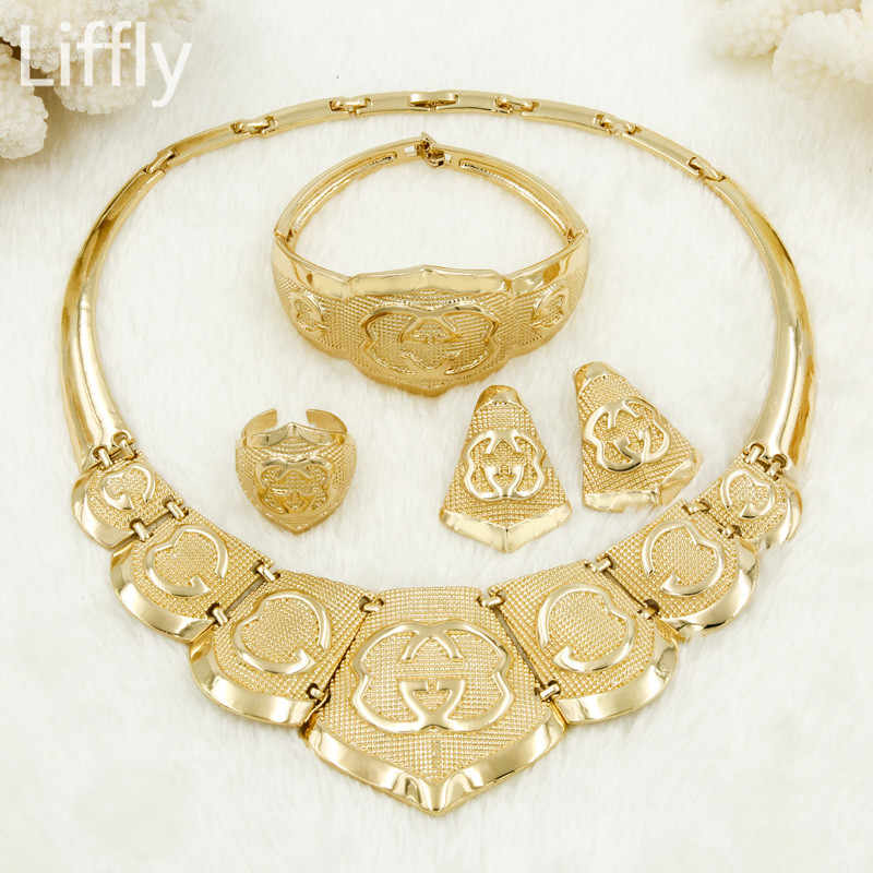 Liffly Women Fashion Dubai Gold Jewelry Sets Charm Necklace Earrings Set Jewellery Indian Bridal Wedding Jewelry Sets Wholesale