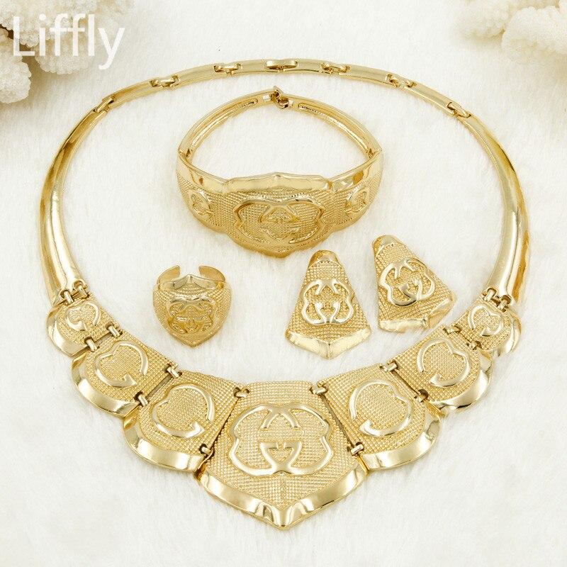 Liffly Women Fashion Dubai Gold Jewelry Sets Charm Necklace Earrings Set Jewellery Indian Bridal Wedding Jewelry Sets Wholesale crucifixo pingente de ouro masculino