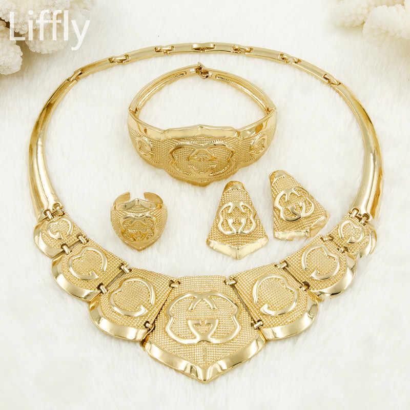 Liffly Women Fashion Dubai Gold Jewelry Sets Charm Necklace Earrings Set Jewellery Indian Bridal Wedding Jewelry Sets Wholesale