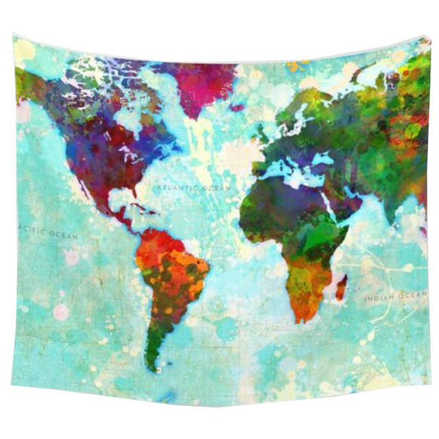world map tapestry print wall hanging polyester indian mandala wall blanket decoracion new