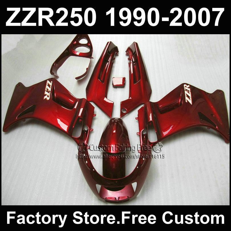 7 gifts custom free fairings set for Kawasaki ZZR-250 ZZR250 1990 1992 2007 ZZR 250 90-07 dark red motorcycle fairing body kits