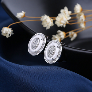 Image 5 - Egg Shape U Shaped Stud Earrings Big Carat Rings Jewelry Set Black White Ceramic Jewelry Set Wedding For Women Size 6 9