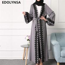 2017 Brand Fashion Muslim Dress Abaya Maxi Dresses Casual Plus Size Soft Robe Knitting Long Dresses Vintage Kaftan Dress #D211