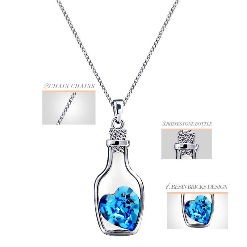 Creative women fashion necklace ladies popular style love drift creative women fashion necklace ladies popular style love drift bottles pendant necklace blue heart crystal pendant necklace in pendant necklaces from aloadofball Gallery