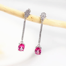 цена wholesale fashionable gemstone jewelry 925 sterling silver natural pink topaz pendant earrings for female онлайн в 2017 году