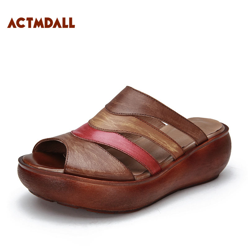 Здесь продается  2018 Summer Thick Sole Sandals Wedge Heel Leather Fish Mouth Slippers Sandals Retro Platform Shoes Actmdall  Обувь