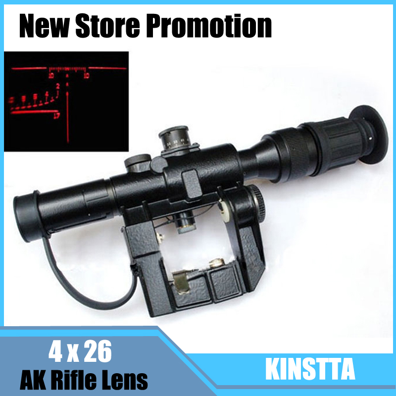 все цены на Newest Arrivals 4x26 Red Illuminated AK Rifle Lens Scope for NATOARMS SVD Dragunov Tactical Airsoft Hunting Shooting онлайн
