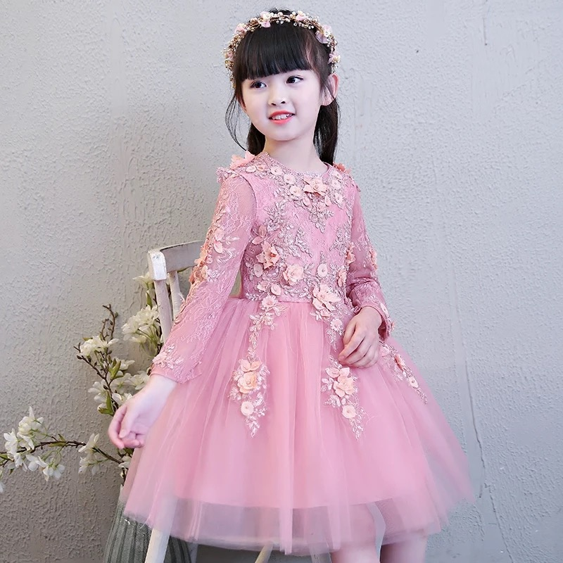 2018 New Spring Lovely Children Girls Long Sleeves Princess Lace Flowers Ball Gown Dress Kids Birthday Wedding Party Dresses