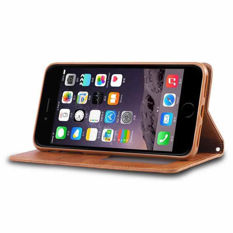 מקרה עבור iphone 8 7 בתוספת 7 בתוספת טלפון מקרה כיסוי יוקרה Flip מגנטי רגיל בציר עסקי עור תיק עבור iphone 7 8 בתוספת Coque