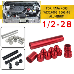 pcmos 1/2-28 Fuel Filters Fuel Trap Solvent Filter 1X6 For NAPA 4003 WIX 24003 6061-T6 Automobiles Filters Parts 11Pcs Red Black