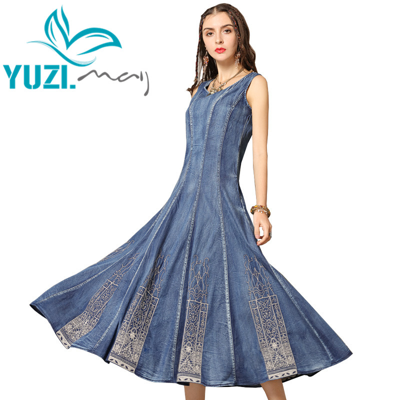Summer Dress 2019 Yuzi may Boho New Denim Women Dresses O Neck Sleeveless Sundress Embroidery Swing