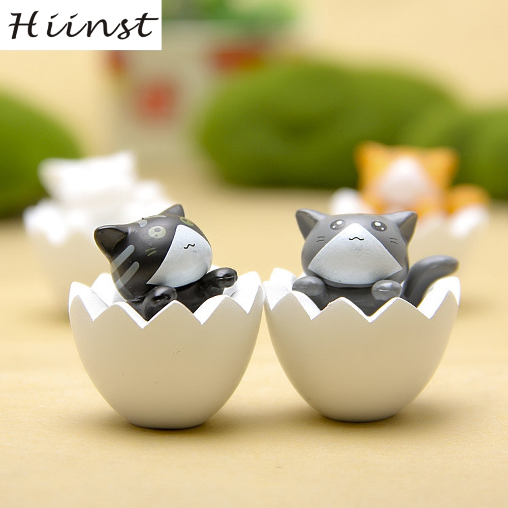 HIINST eggshell cat yellow 4PC Reliever 3cm Mini Cute Lovely Cat Vivid Cartoon Figure Model Collect Toy 25 Aug1535P
