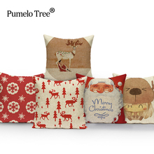Christmas Festival Elk Cushion Cover Happy Birthday Santa Claus Pillow Cases Kids Gift Linen Bedroom Sofa Decoration 45X45Cm