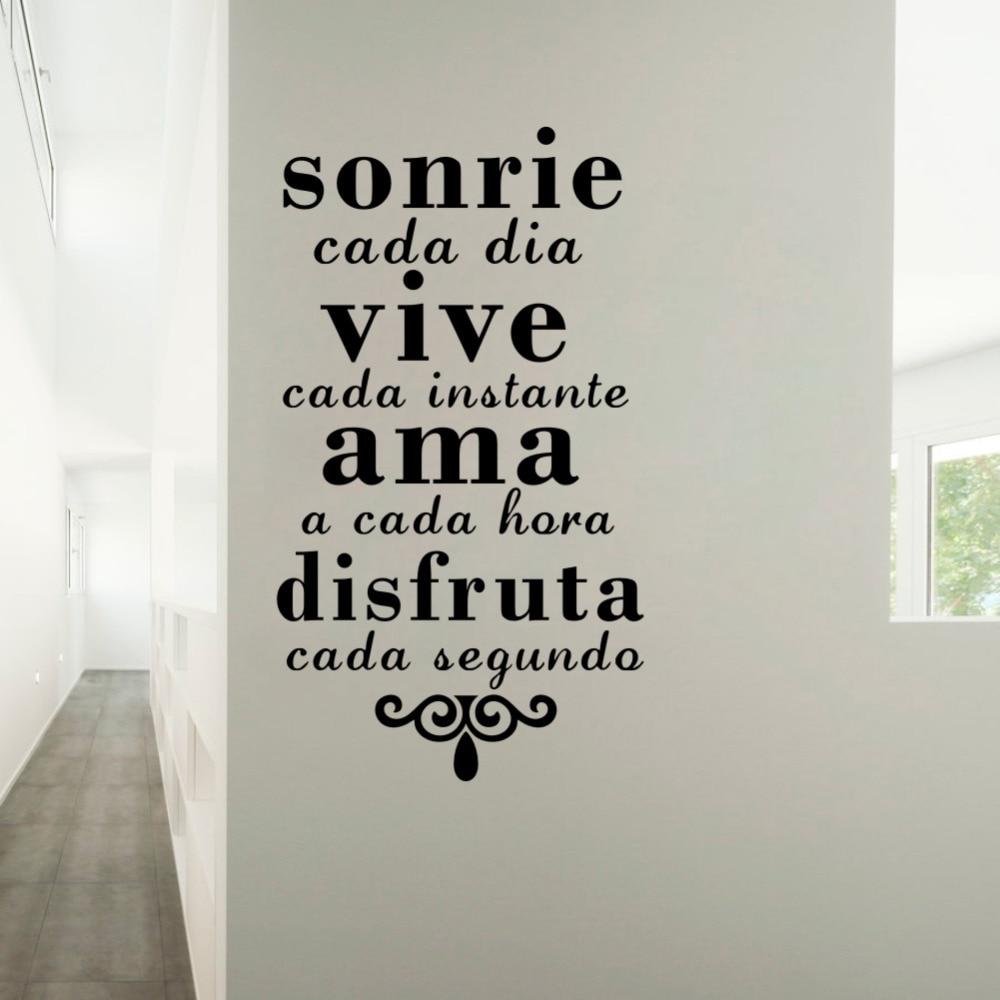 Cita Inspirational Spagnolo Sorriso Di Tutti I Giorni Vivere Ogni Momento  Vinyl Art Wall Stickers Casa Di Destinazione   AREMI.ME