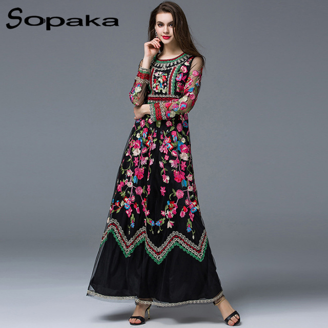 Designer maxi dress floral with lace