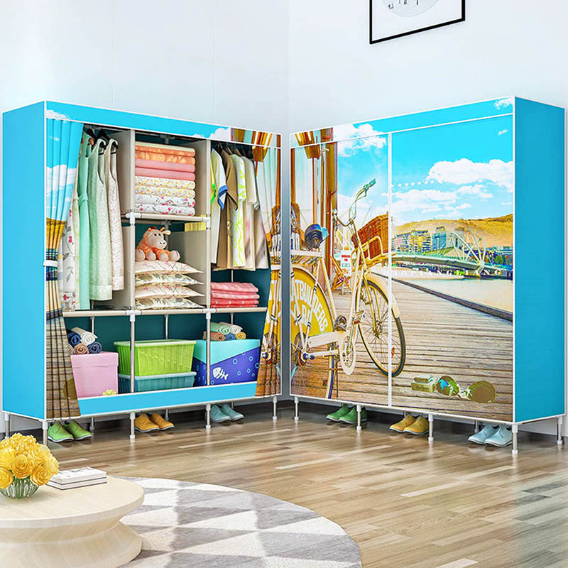 Fashion beautiful cloth wardrobe large-capacity storage cabinet free assembly wardrobe stainless steel storage home furnitureFashion beautiful cloth wardrobe large-capacity storage cabinet free assembly wardrobe stainless steel storage home furniture