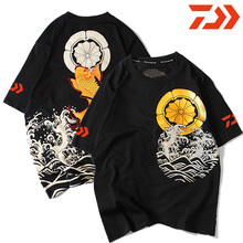 купить 2019 New DAWA Summer Fishing Jersey Clothing Quick Dry DAIWA Fishing Clothes Long Sleeve Anti-UV Purified Cotton Fishing T-Shirt дешево