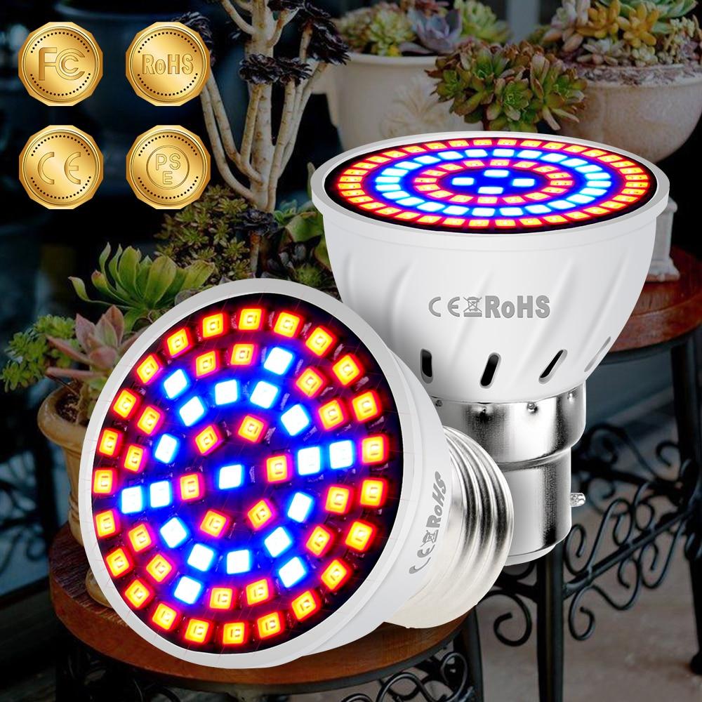 E14 LED Grow Light Led Full Spectrum Bulb E27 Phytolamp GU10 MR16 220V Grow Tent Indoor 2835SMD 48 60 80led Lamps For Plants B22