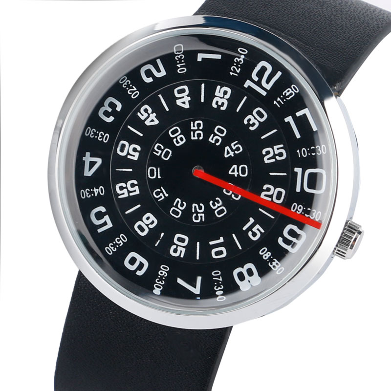 Horloge Heren Creatief Leren Band Band Armband Draaitafel Horloges - Herenhorloges - Foto 1