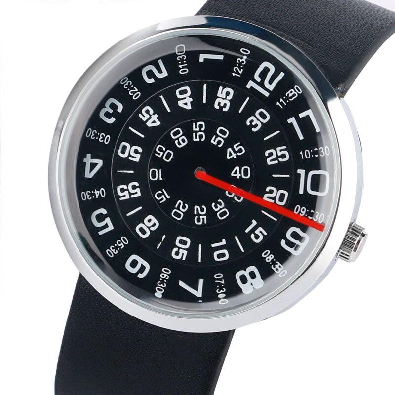 Watch Men Creative Leather Band Strap Bracelet Turntable Wrist Watches Quartz Gift for Men Women Erkek Kol Saati