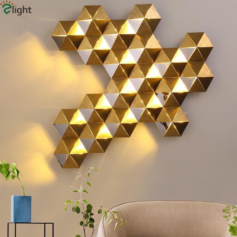 Luxury Honeycomb Nest Design Gold Lustre Led Wall Lamp Mirror Steel Luminaria Wall Scones Hotel Mall Led Lighting Lamparas