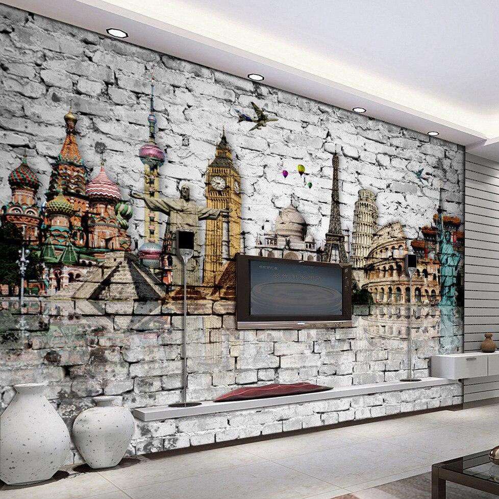 Custom 3D Mural Wallpaper Roll Classic European Architecture Eiffel Tower, Big Ben, Statue Of Liberty Brick Wall Paper Murals 3D