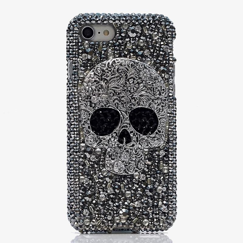 Woman Handmade Rhinestone Diamond Skull Phone Cover Case For Samsung Galaxy S6/S7/S8 edge/S9 Plus/J/A3 A5 A7 A8 2018 2016 2017