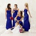 Não é de cetim de noiva ruched azul royal vestidos querida maid of honor da dama de honra festa de casamento vestido longo vestidos feitos à mão