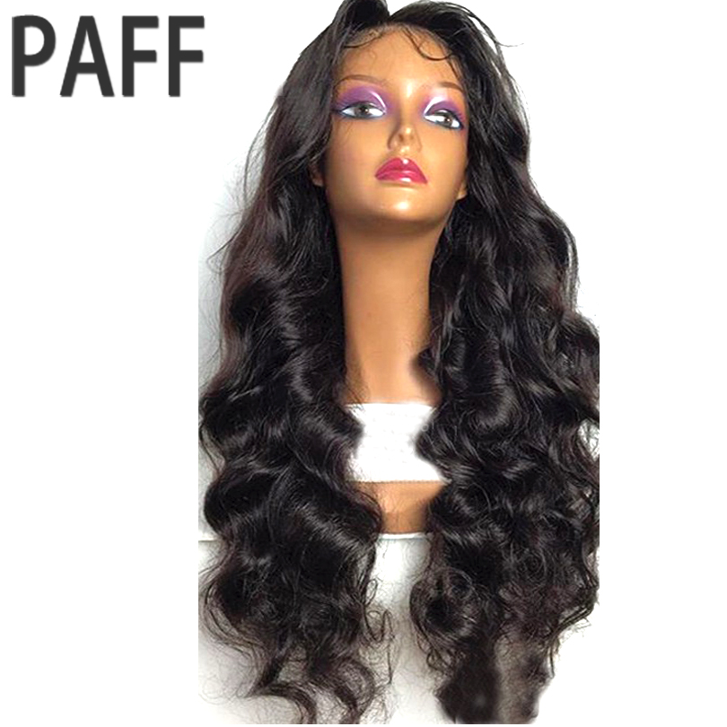 36C Body Wave Lace Front Wig Brazlian Non remy Hair Natural Color 180 Density Human Hair