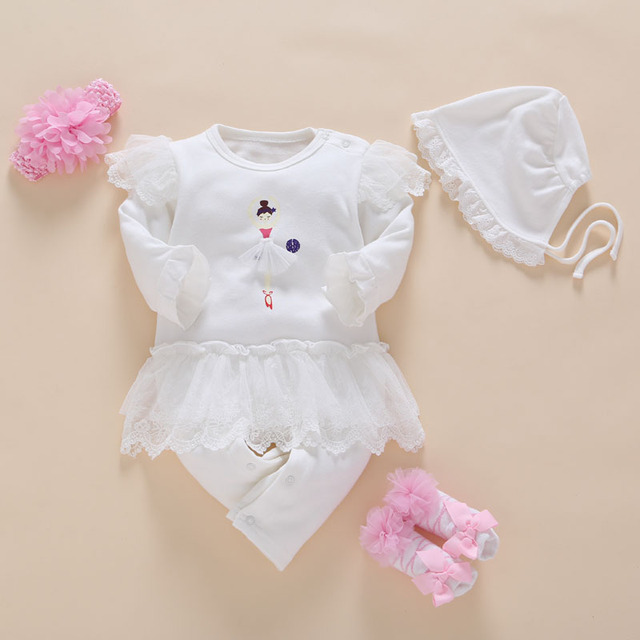 1ebf6555d 100%cotton Baby Clothes 3 6 Months Sleepers White Girls Rompers Long ...