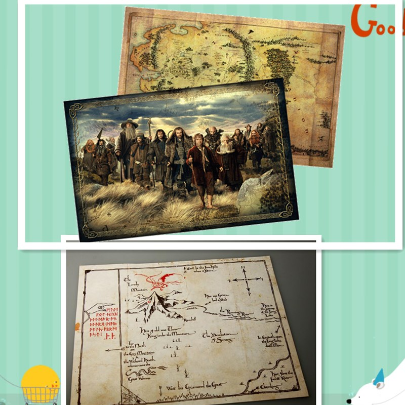 New Hot Collection 2pcs /set Hobbit Poster Maps The Lord Of The Rings Middle-earth Map Cosplay Props Mapa Gifts