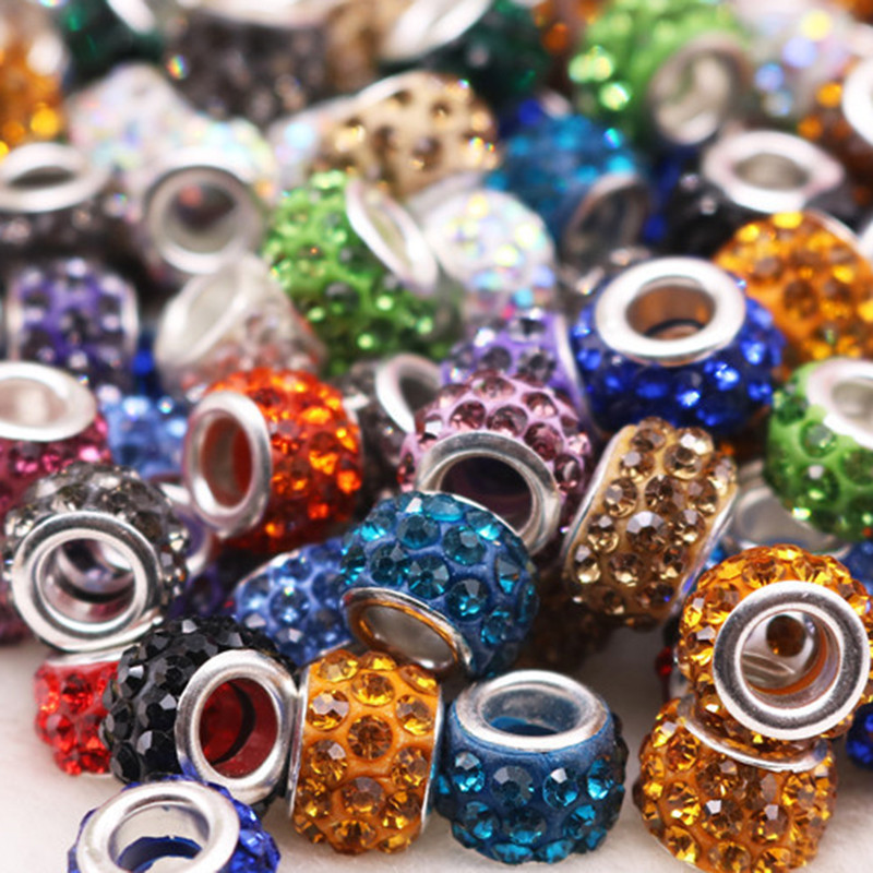 100Pcs New Assorted Color Big Hole Crystal Spacer Glass Beads Charms fit European Bracelet Chain Earrings for Jewelry Making in Beads from Jewelry Accessories