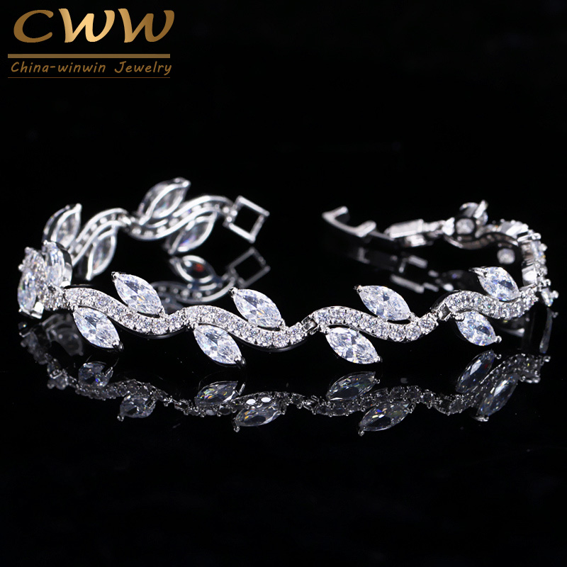 CWWZircons High Quality White Gold Color Women Cubic Zirconia Leaf Shaped Fashion Bridal Wedding Party Jewelry Bracelets CB099