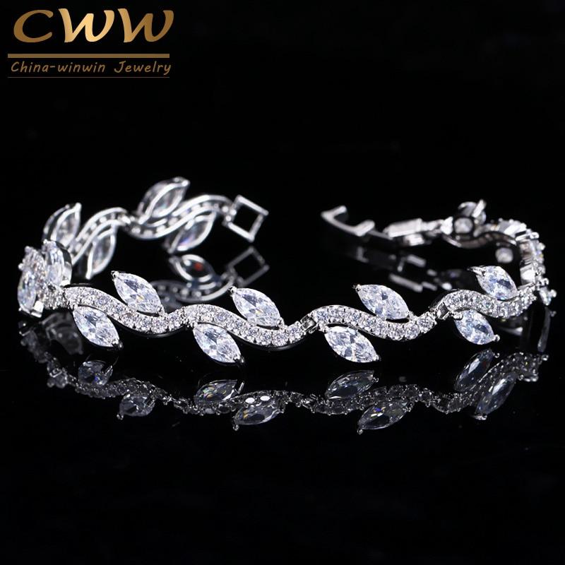 CWWZircons High Quality White Gold Color Women Cubic Zirconia Leaf Shaped Fashion Bridal Wedding Party Jewelry Bracelets CB099