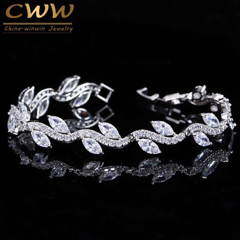 CWWZircons באיכות גבוהה לבן זהב צבע נשים מעוקב Zirconia בצורת עלה אופנה כלה חתונה מסיבת תכשיטי צמידי CB099