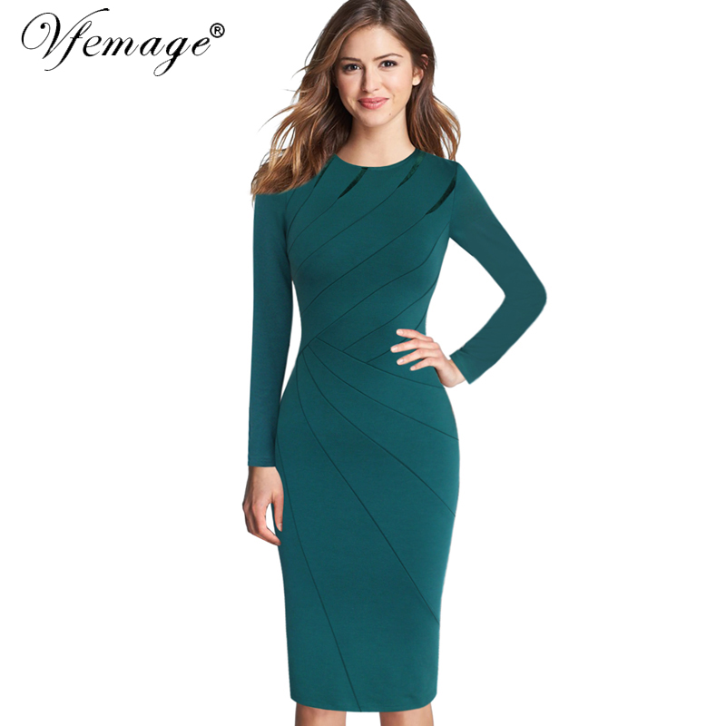 17d1955d2b Vfemage Womens Autumn Winter Elegant Patchwork Slim Casual Work Business  Office Party Fitted Bodycon Pencil Sheath Dress 4682