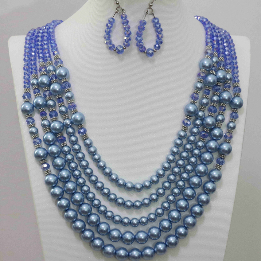 Charms blue shell faux pearl 5 rows necklace abacus glass crystal earrings high quality fashion women pretty jewelry set B983-13