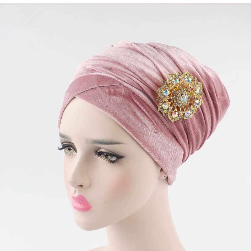 Yeni kadın pilili lüks kadife türban hicap ekstra uzun kafa sarma şapka hint takı broş başörtüsü bayanlar saç aksesuarları