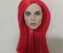 1:6 red Long Hair beauty 1/6 Scale Red Hair Head Sculpt Carving Fit 12