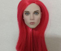 1:6 red Long Hair beauty 1/6 Scale Red Hair Head Sculpt Carving Fit 12 Phicen Female Figure Body Toys