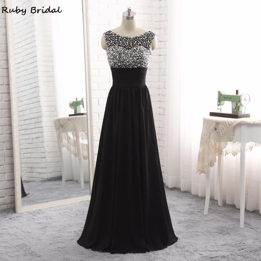 Ruby Bridal Vestido De Festa Long Evening Dresses Black Chiffon Pleats Beaded Luxury A line Cheap